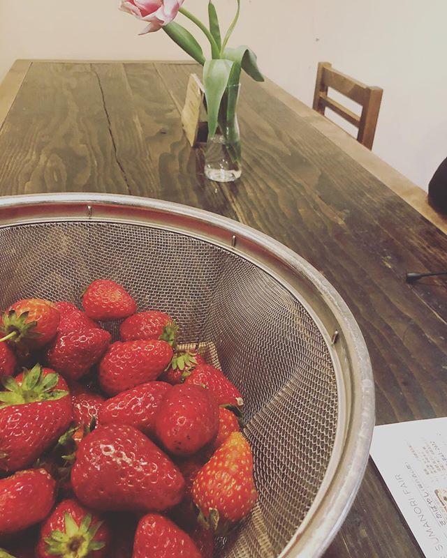 @farmstand_eatlocalkobe さんへ北区 淡河町 森本聖子さんの苺ジャムワークに参加してきました。米粉のパンケーキは贅沢🥞に、弓削牧場の牛乳と北坂さんの卵で。その上にできたての苺ジャムをトッピング美味しかったー。普段、スーパーでの買い物では知り得ない農家さんの想いが伝わり楽しい時間でした。ありがとうございました!#eatlocalkobe #農家さん #苺#紅ほっぺ #苺ジャム#北区 #淡河#苺ジャムws#美味しいws